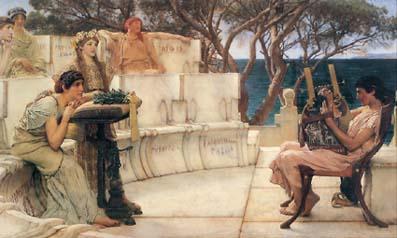 Репродукция с картины «Сафо и Алкей» (1881) нидерландского художника Лоуренса Альмы-Тадемы (Alma-Tadema; 1836–1912).