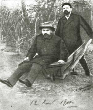 А.П. Чехов и В.А. Гиляровский. С фотографии И.И. Левитана. 1892 г.